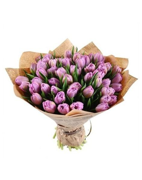 Bouquet of 51 violet tulips: delivery of flowers in