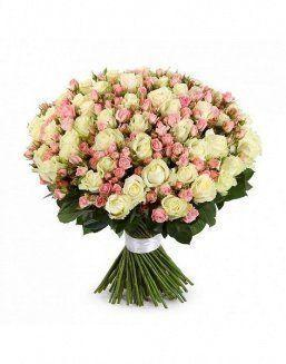 Mix bouquet of 25 white/pink spray roses | Delivery and order flowers in Almaty