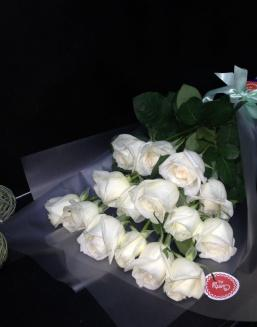 Bouquet of 15 white Dutch roses | White roses flowers