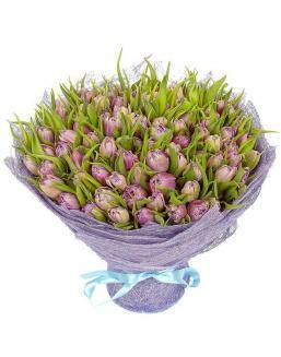 Bouquet 101 violet tulips | Delivery and order flowers in Almaty