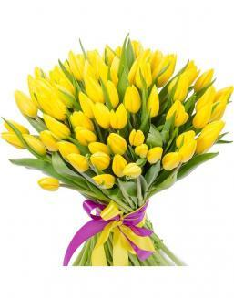 Bouquet 101 yellow tulips | 101 yellow flowers to mother flowers
