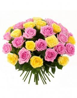 Bouquet mix of 33 pink and yellow roses | Pink roses on Valentine's Day flowers