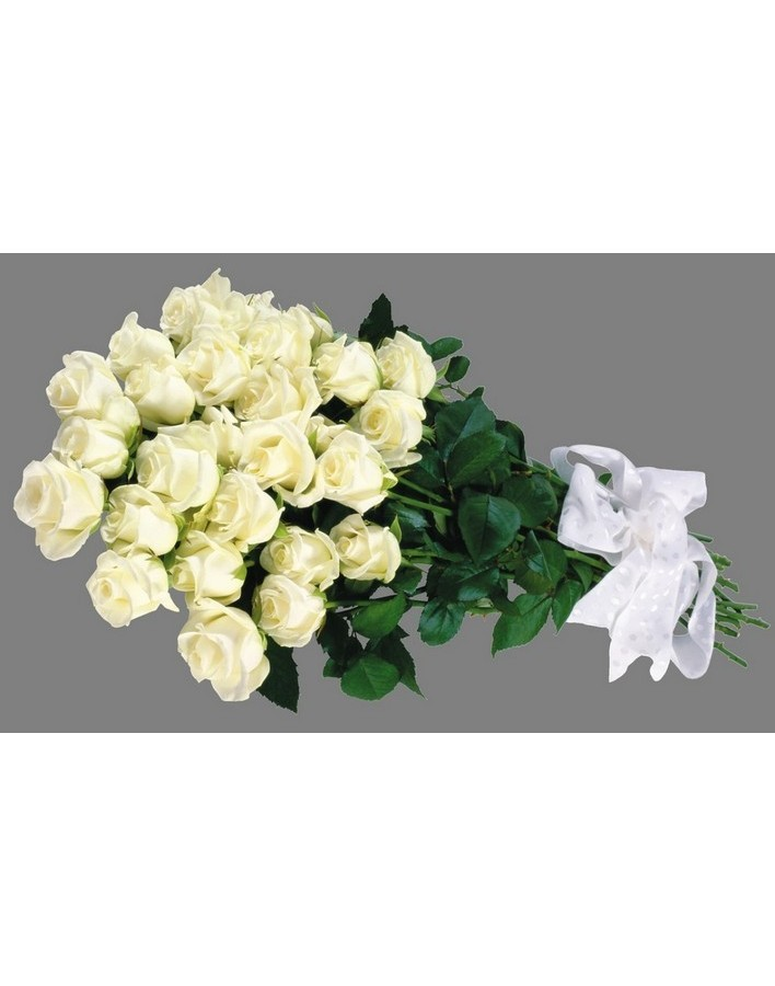 Bouquet of 25 white Dutch roses